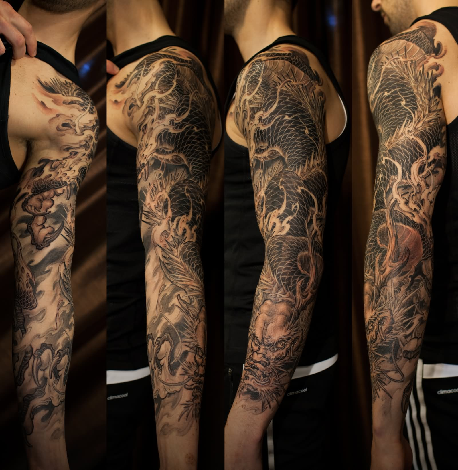 Black Ink Dragon Tattoo On Man Left Full Sleeve