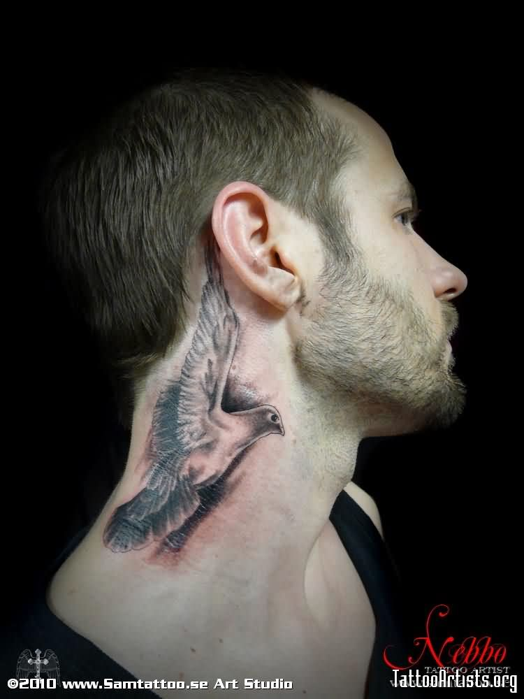 760561752cc54 Black Ink Flying Bird Tattoo On Man Side Neck
