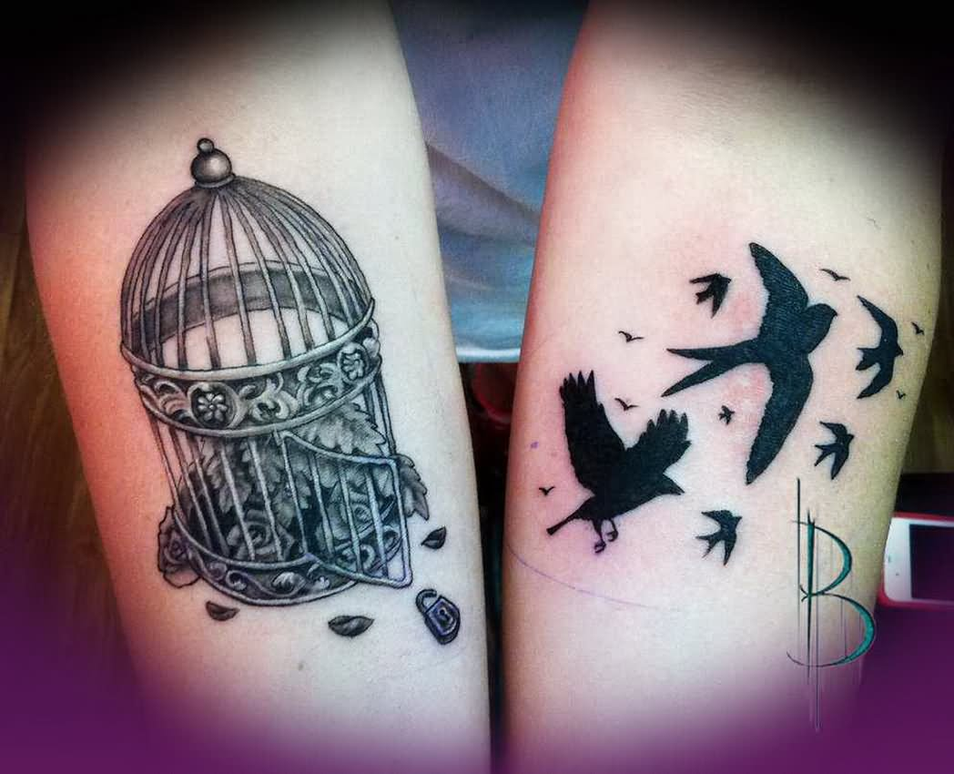 bd2e1f880 Black Ink Flying Birds And Cage Tattoos