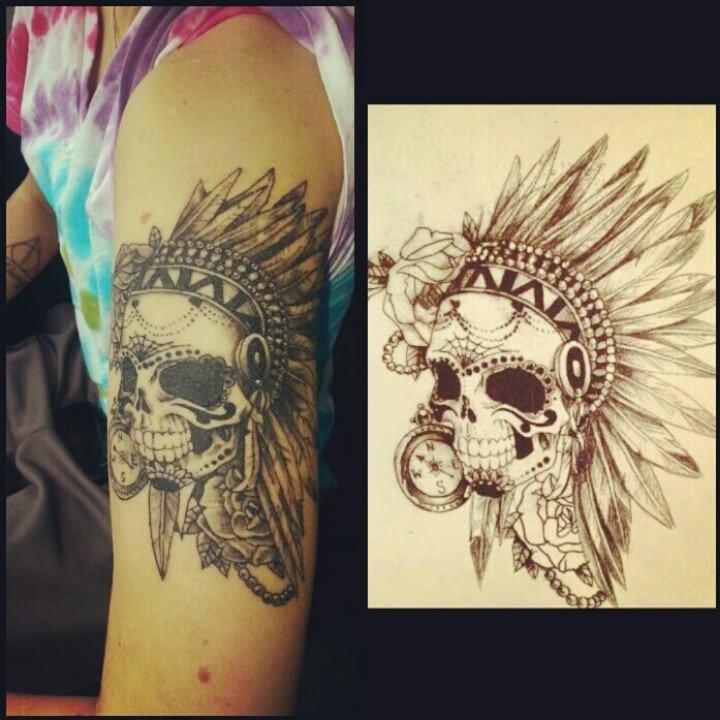 3f166771e Black Ink Indian Chief Skull Head Tattoo On Left Half Sleeve