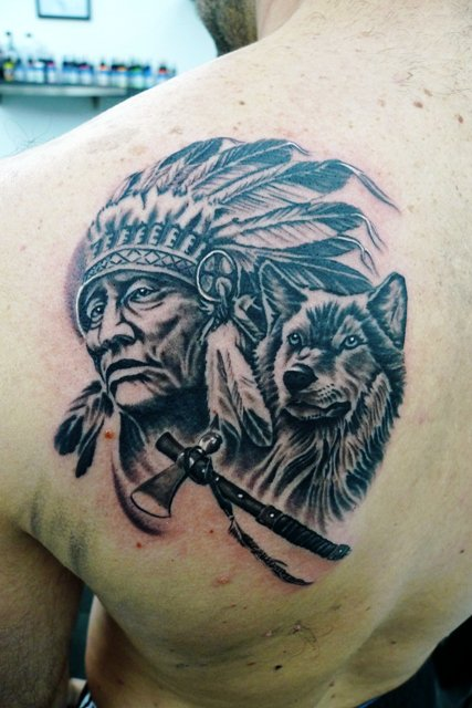 32 indian chief wolf tattoos for Indian ink tattoo