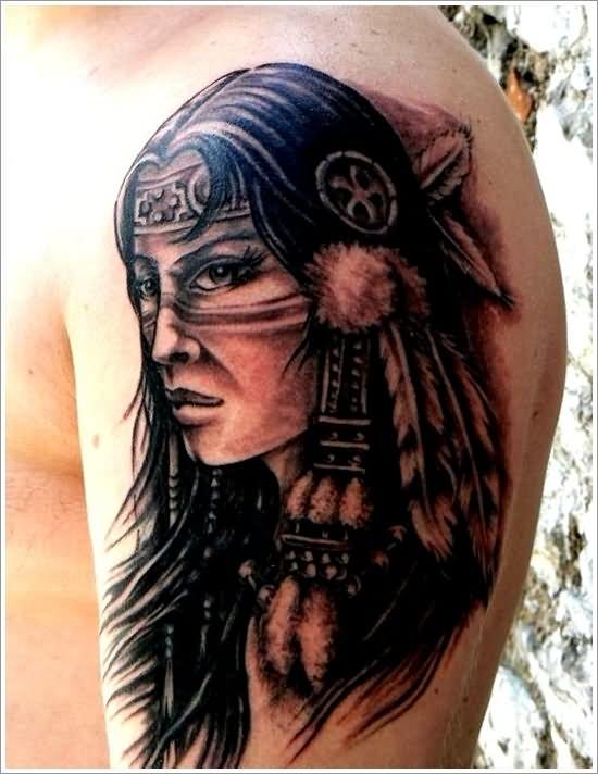 a55d72734 Black Ink Indian Native Girl Face Tattoo Design For Shoulder