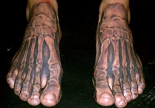 de14e59ef Black Ink Skeleton Feet Tattoo Design For Men