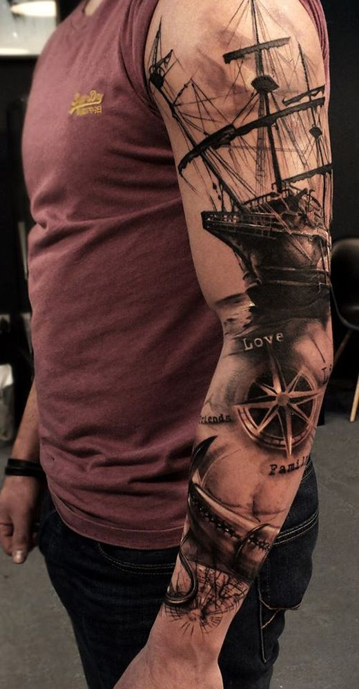 Black Ink Ship With Anchor Tattoo On Left Full Sleeve