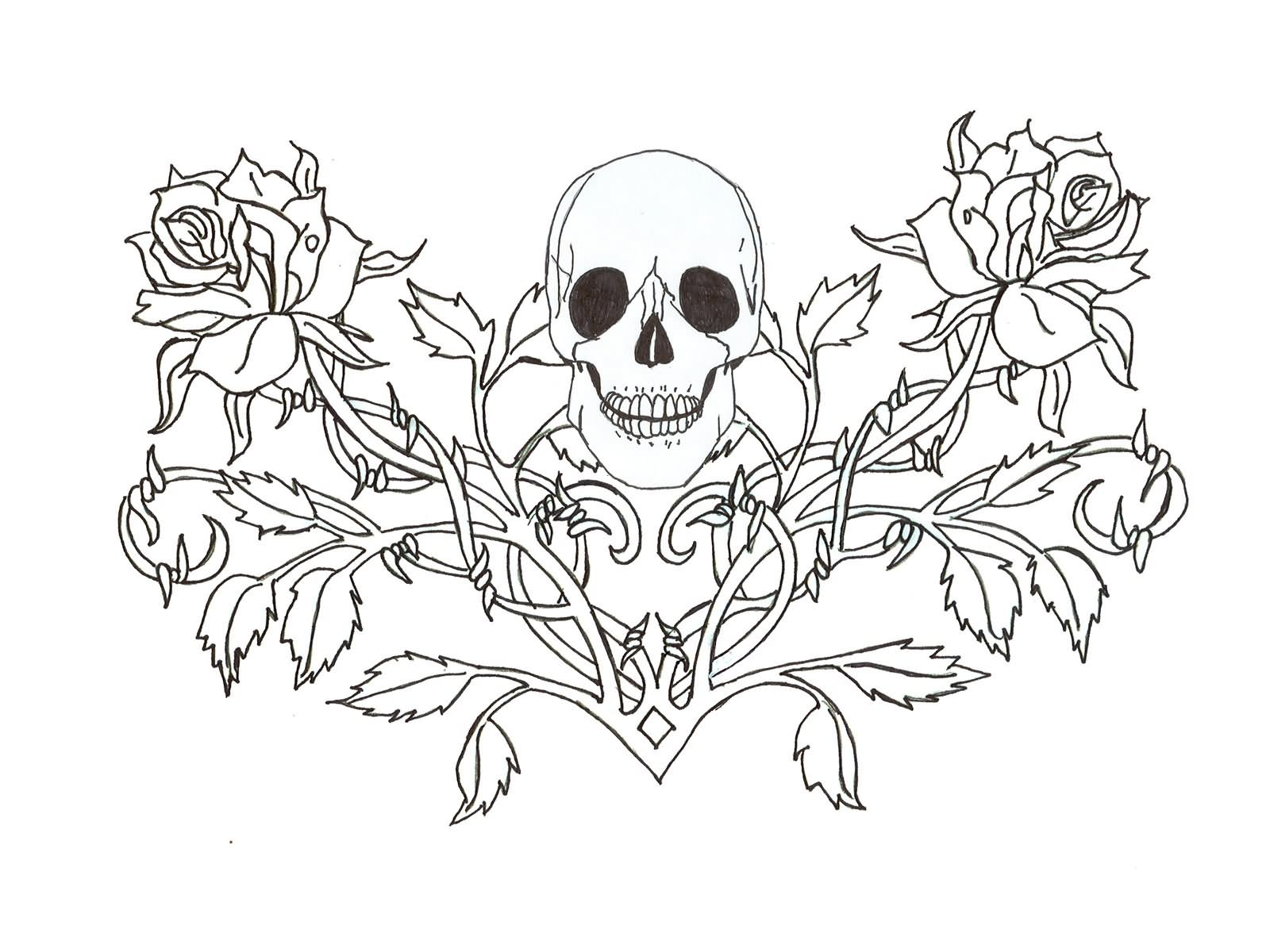 Black Outline Gothic Skull With Roses Tattoo Stencil By Quicksilverfury