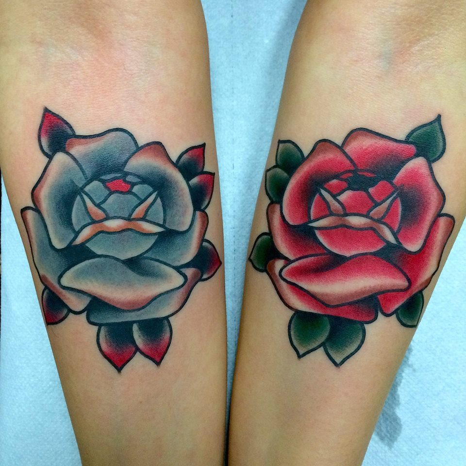 245d618ac6b15 Blue And Red Rose Tattoos On Forearm by Fabio Onorini