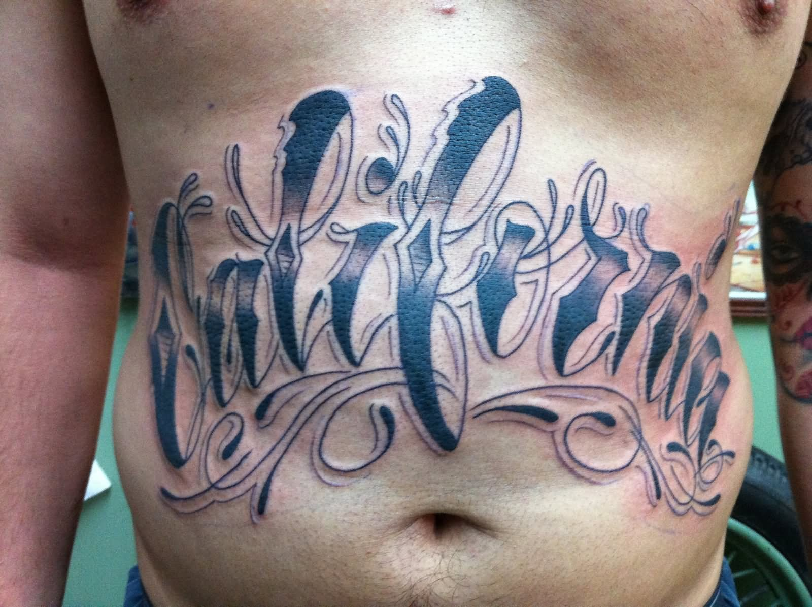 32 stomach letters tattoo