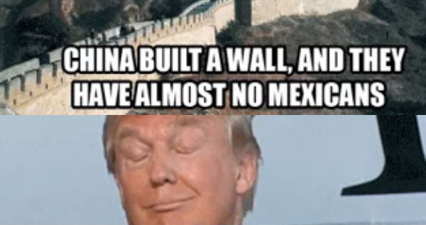 Funny Trump Wall Meme : China built a wall and they have almost no mexicans funny donald