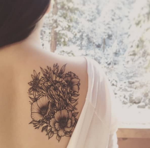 Grey Ink Nature Flowers Tattoo On Girl Left Arm