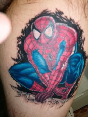 605f8848d Colored Spiderman Tattoo For Men