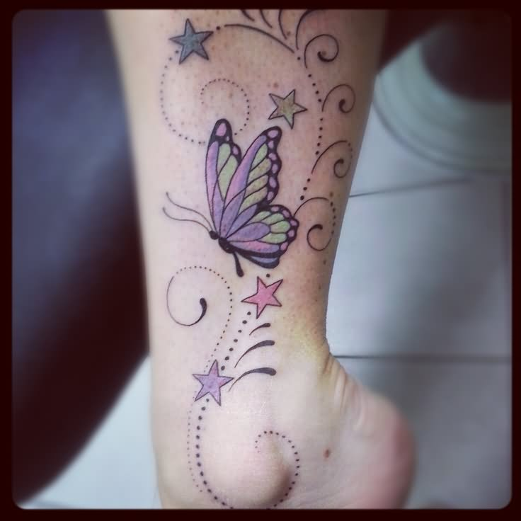 30+ Cute Ankle Butterfly Tattoos