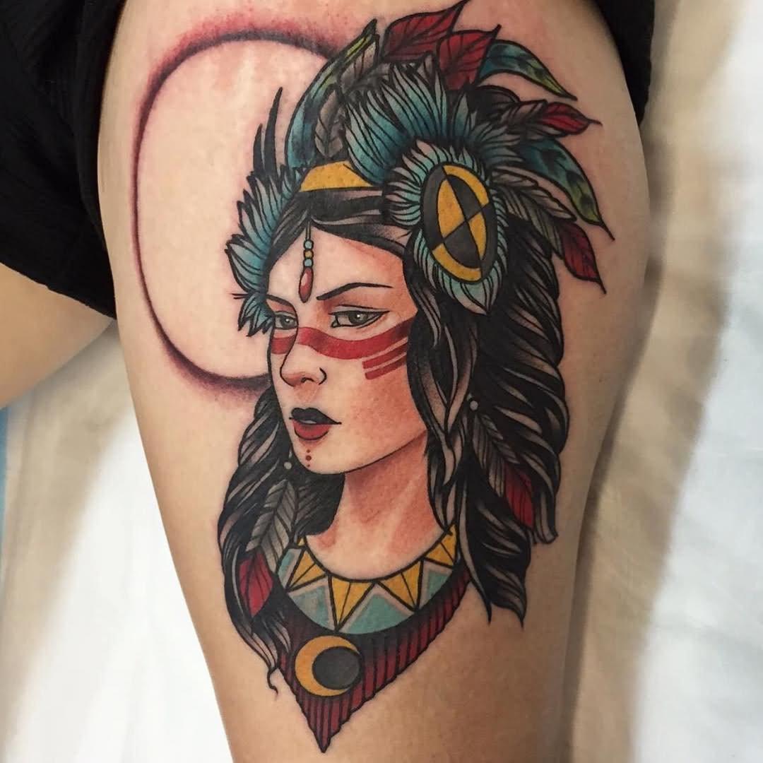 e95de45cbb07e Colorful Indian Chief Female Tattoo Design For Thigh