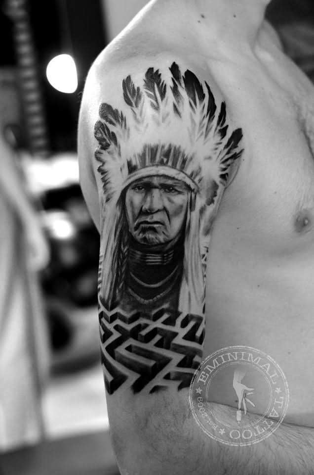 26 indian chief sleeve tattoos. Black Bedroom Furniture Sets. Home Design Ideas
