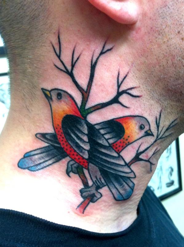 25 nice birds tattoos on neck for Cute side tattoos
