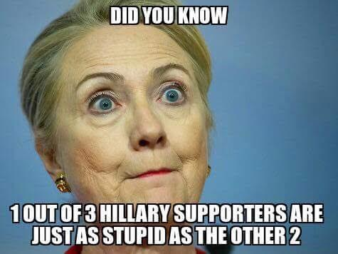Did You Know 1 Out Of Hillary Supported Are Just As Stupid As The Other 2 Funny Hillary Clinton Meme Image