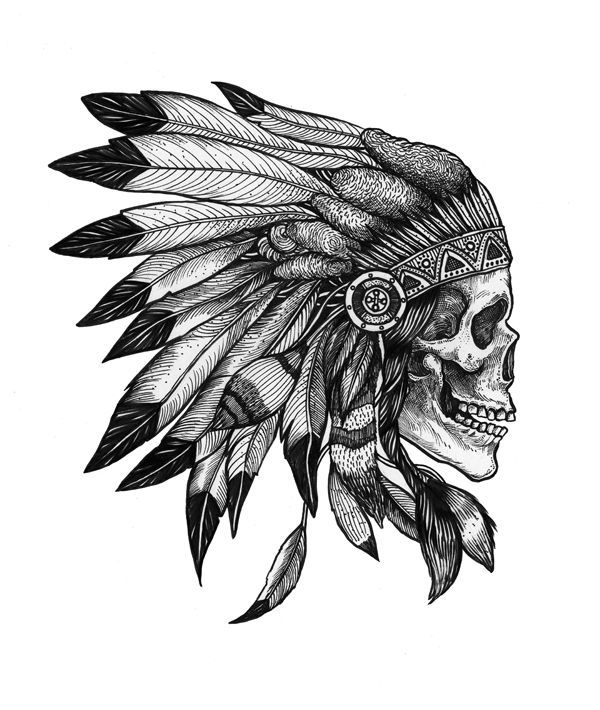 f07afaaf3 Dotwork Indian Chief Skull Head Tattoo Design By MikeDynAsty