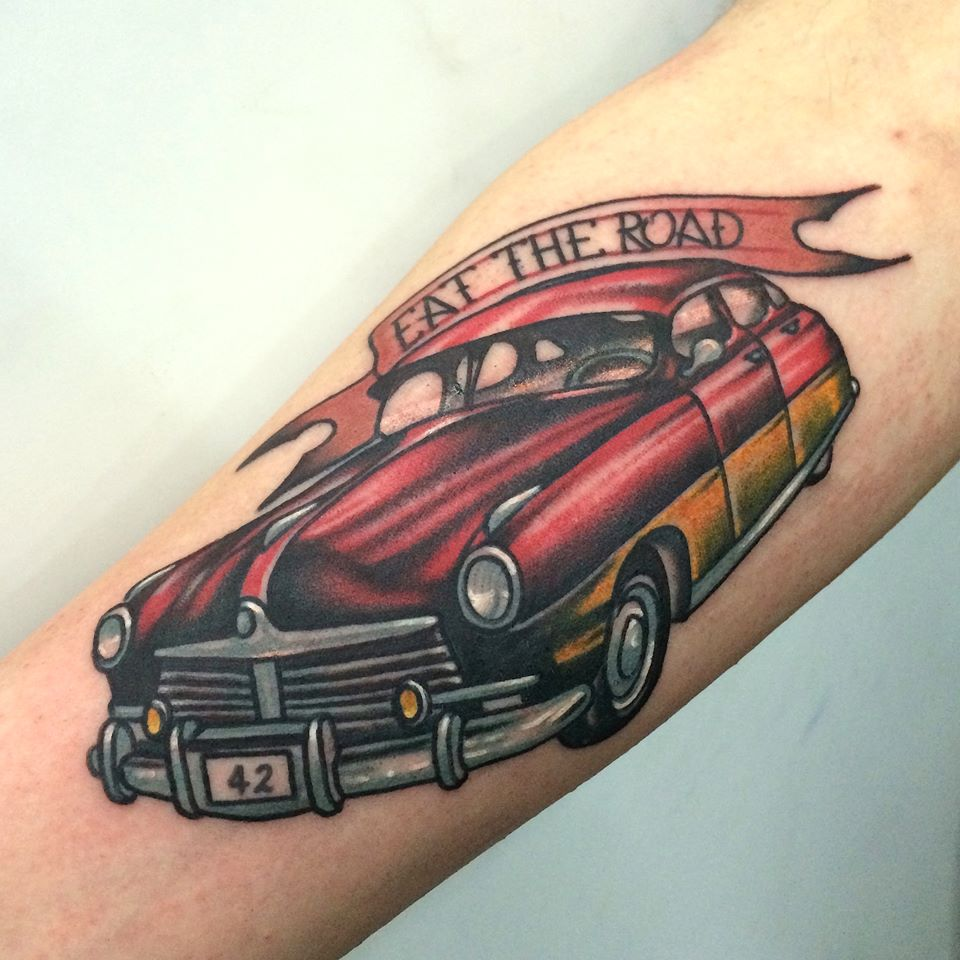 Eat The Road Old Muscle Car Tattoo On Arm