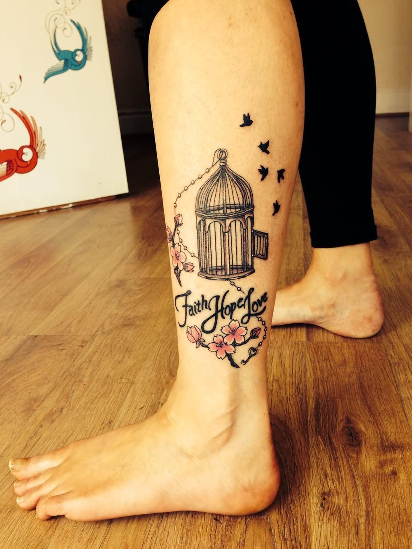 Faith Love And Hope Bracelet Tattoo On Ankle