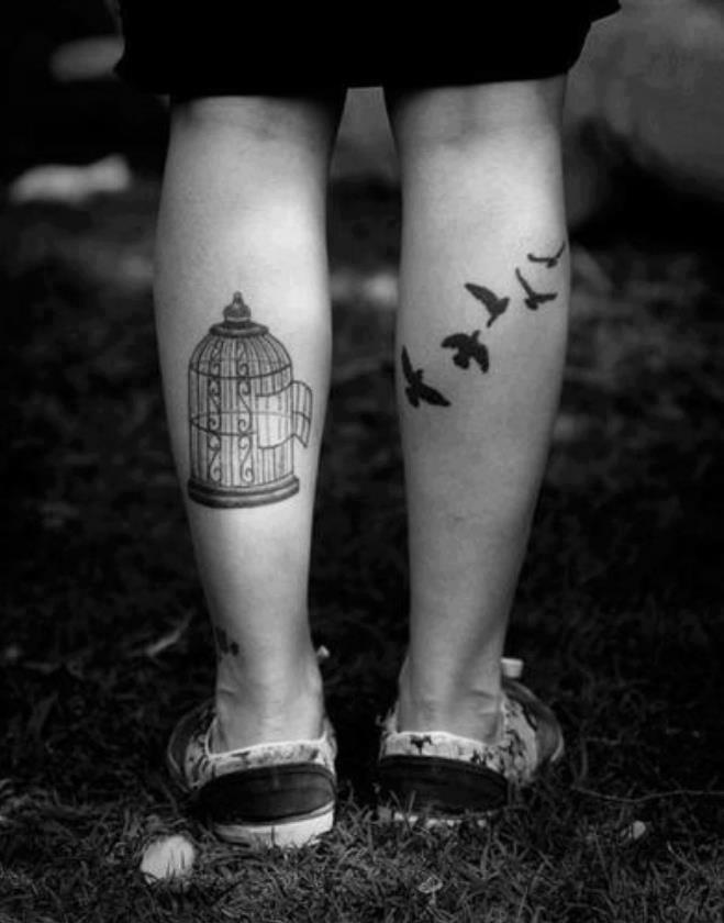 17671e4dd Flying Birds And Cage Tattoos On Leg Calf