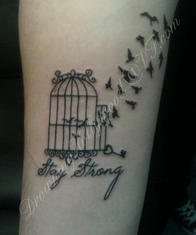 7725b1fb9 Flying Birds With Cage Stay Strong Tattoo
