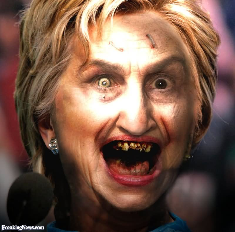 Funny Hillary Clinton With Scary Face Image