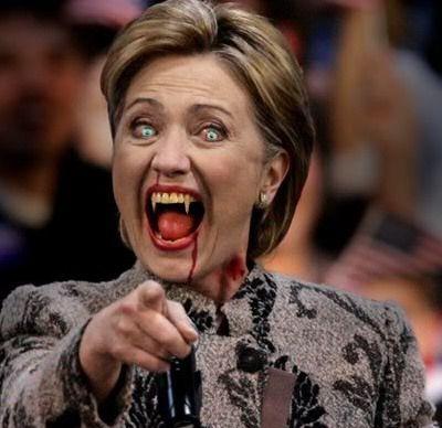 Funny Vampire Hillary Clinton Photoshop Face Image