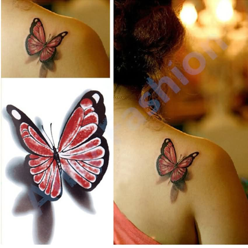 e2916176f Gothic 3D Butterfly Tattoo On Girl Right Back Shoulder