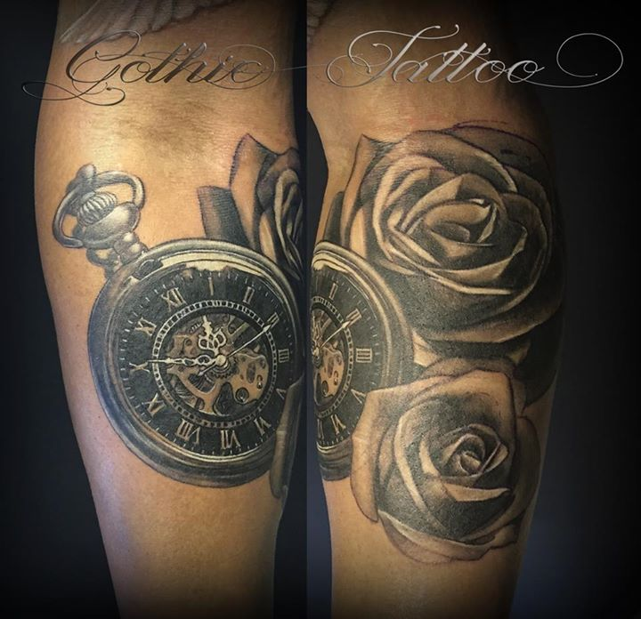 Gothic Pocket Watch With Roses Tattoo Design For Sleeve