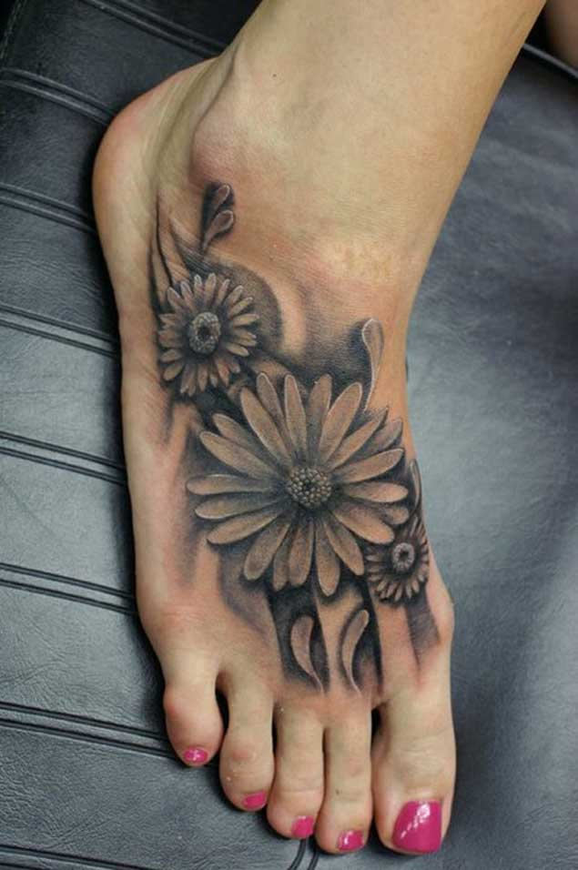 three daisy flowers tattoo on left foot. Black Bedroom Furniture Sets. Home Design Ideas