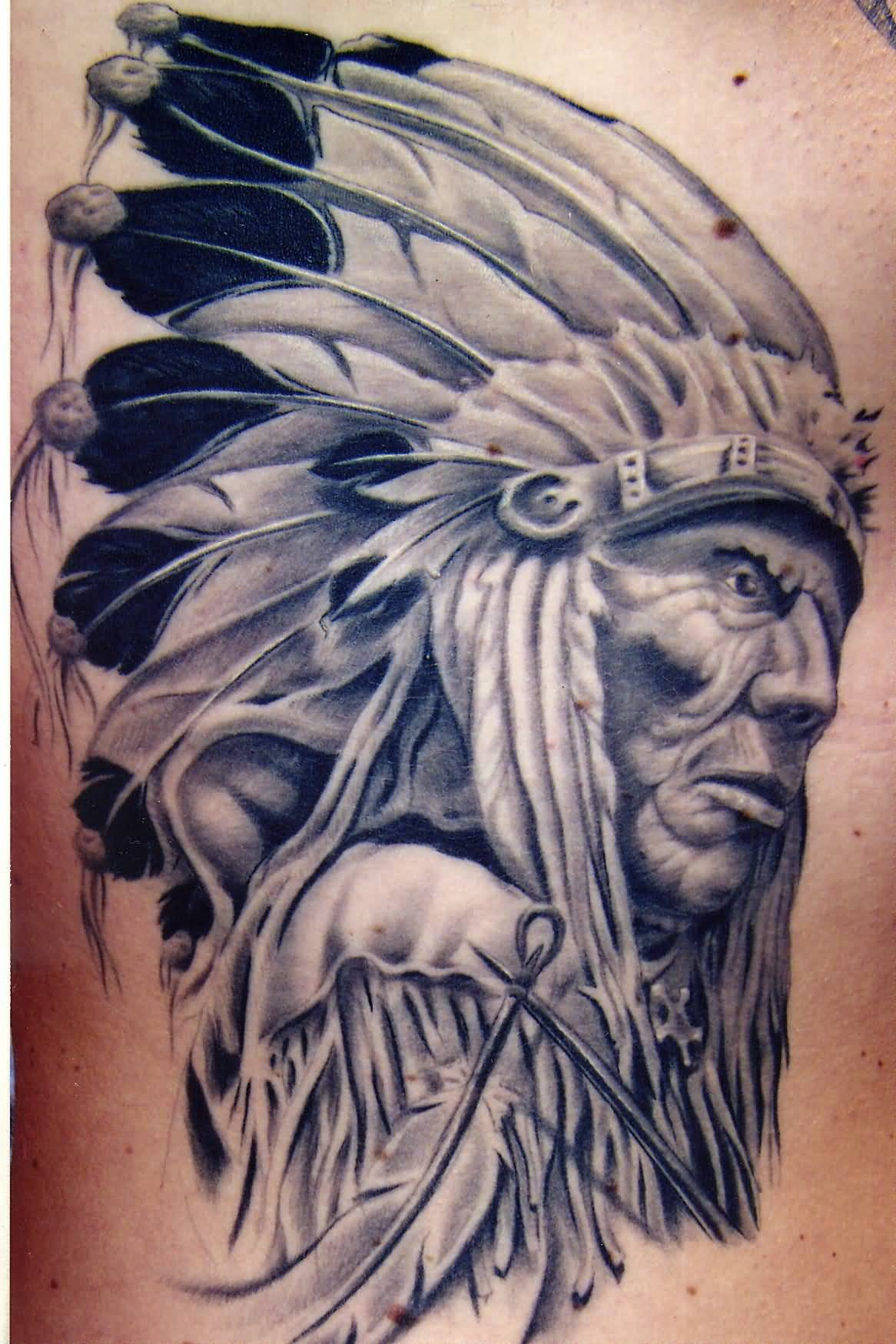 Grey Ink 3d Indian Chief Tattoo Design By Todd Wilson