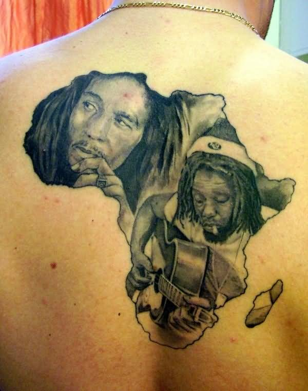 Grey Ink African Map And Bob Marley Tattoo On Upper Back