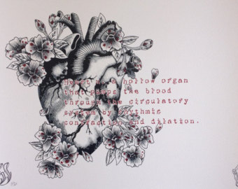 Grey Ink Gothic Real Heart With Flowers Tattoo Design