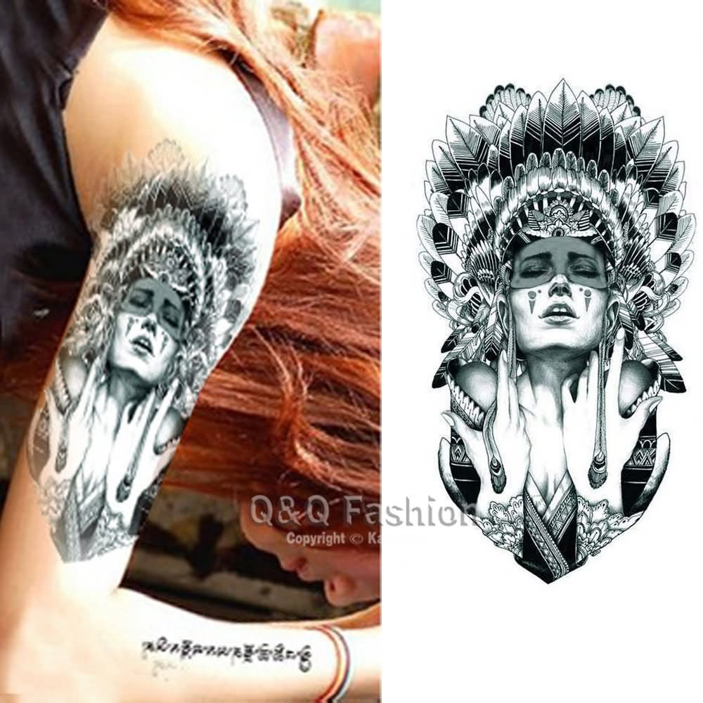 ecf5a27e0 Grey Ink Indian Chief Female Tattoo On Girl Left Half Sleeve