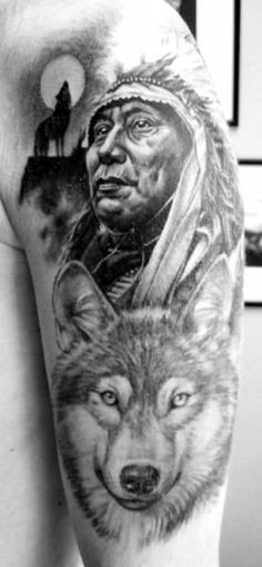 Indian chief with wolf and tomahawk tattoo on shoulder blade ...