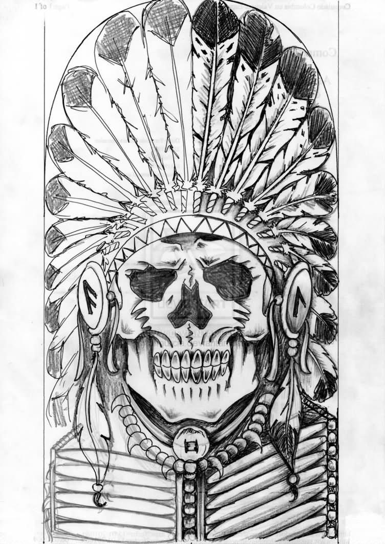 f83b64a46 Grey Ink Indian Chief Skull Head Tattoo Design By Diego Murcia Gonzalez