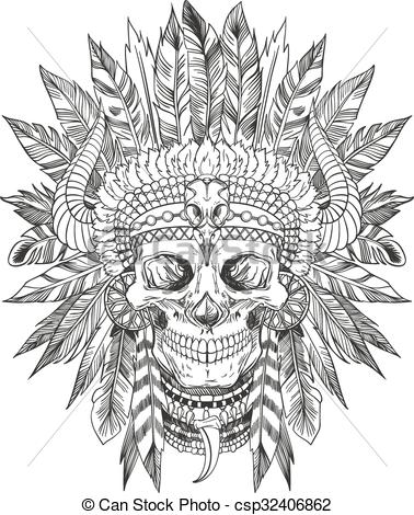 86fb69ad2 Grey Ink Indian Chief Skull Head Tattoo Design