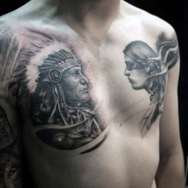 12+ Indian Native Tattoos On Chest