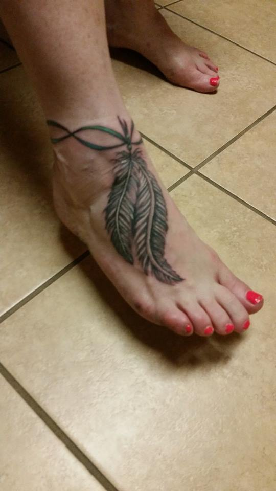adaaf045d Grey Ink Rosary Feather Tattoo On Girl Right Ankle
