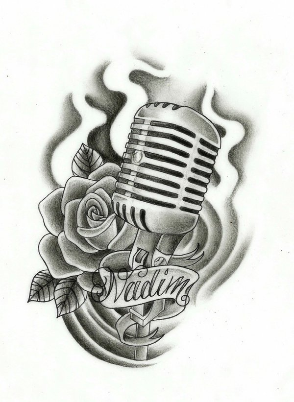 17 microphone tattoo drawings. Black Bedroom Furniture Sets. Home Design Ideas