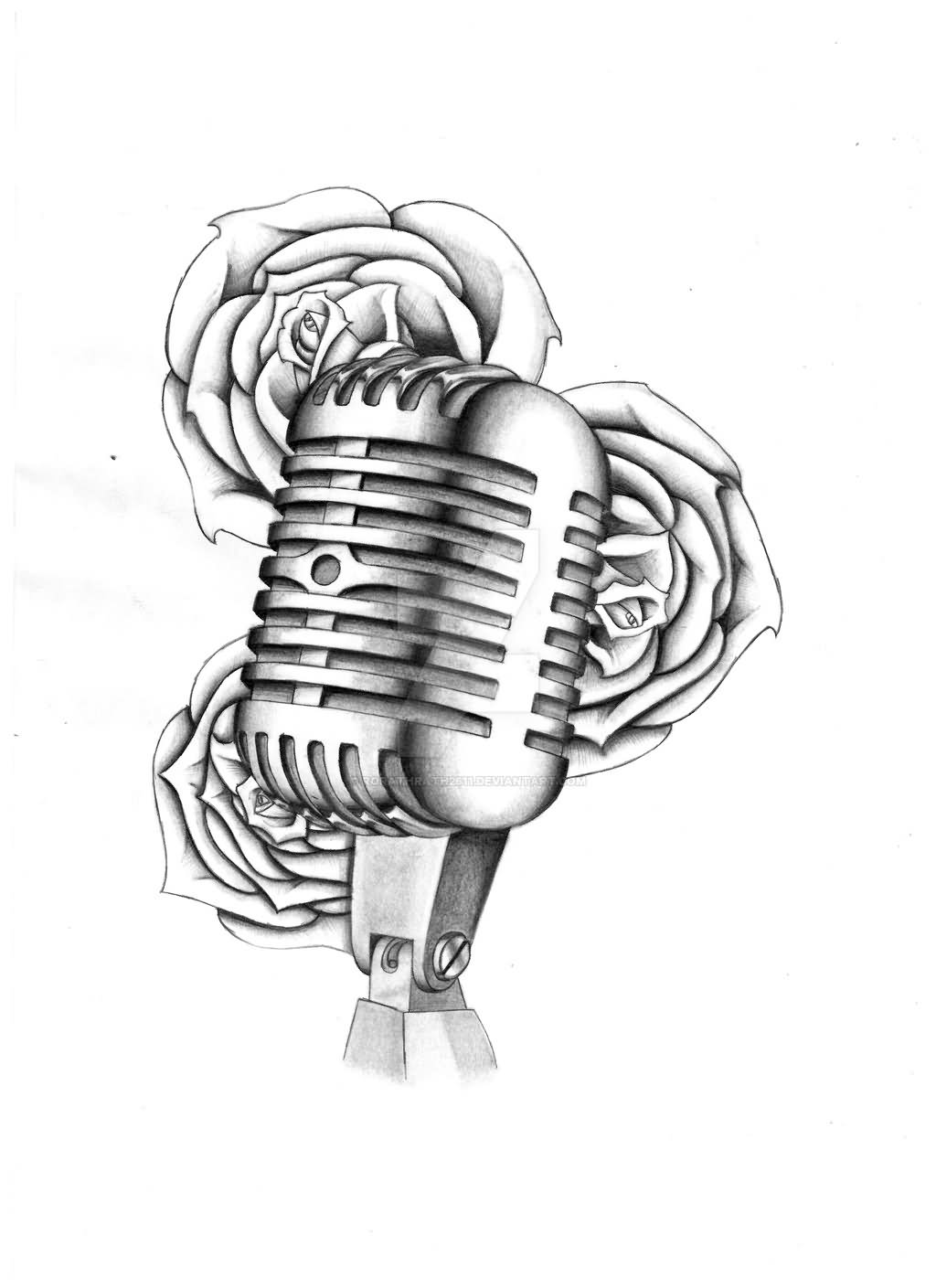 Tattoo Design Line Art : Microphone tattoo drawings