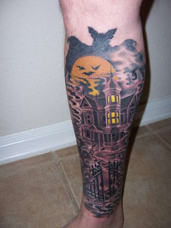 45 best haunted house tattoos. Black Bedroom Furniture Sets. Home Design Ideas