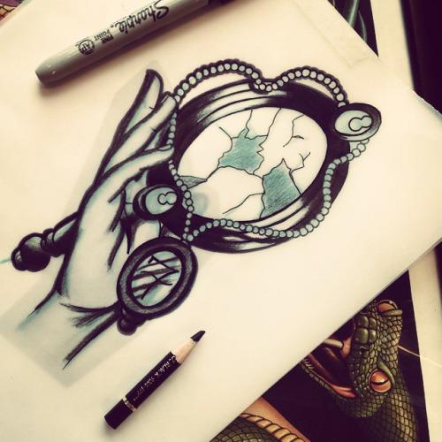 skull hand mirror tattoo design. Black Bedroom Furniture Sets. Home Design Ideas