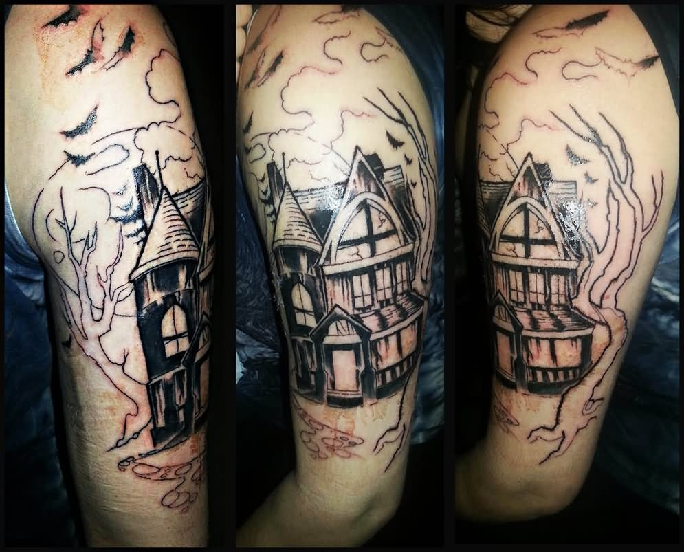 Cemetery and graveyard tattoo on half sleeve - Haunted Graveyard Tattoo On Half Sleeve By Volatileghost