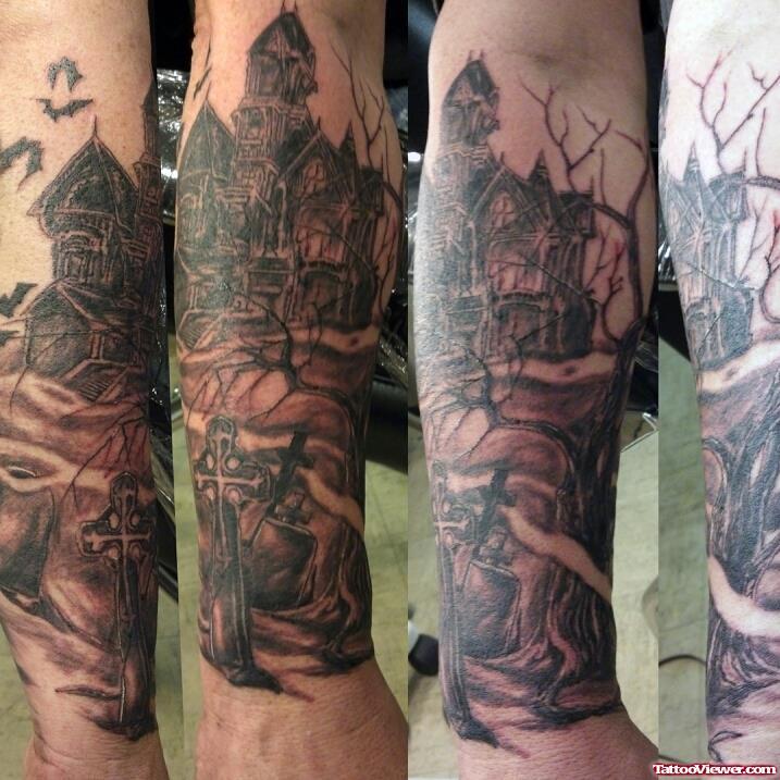 18 haunted graveyard tattoos. Black Bedroom Furniture Sets. Home Design Ideas
