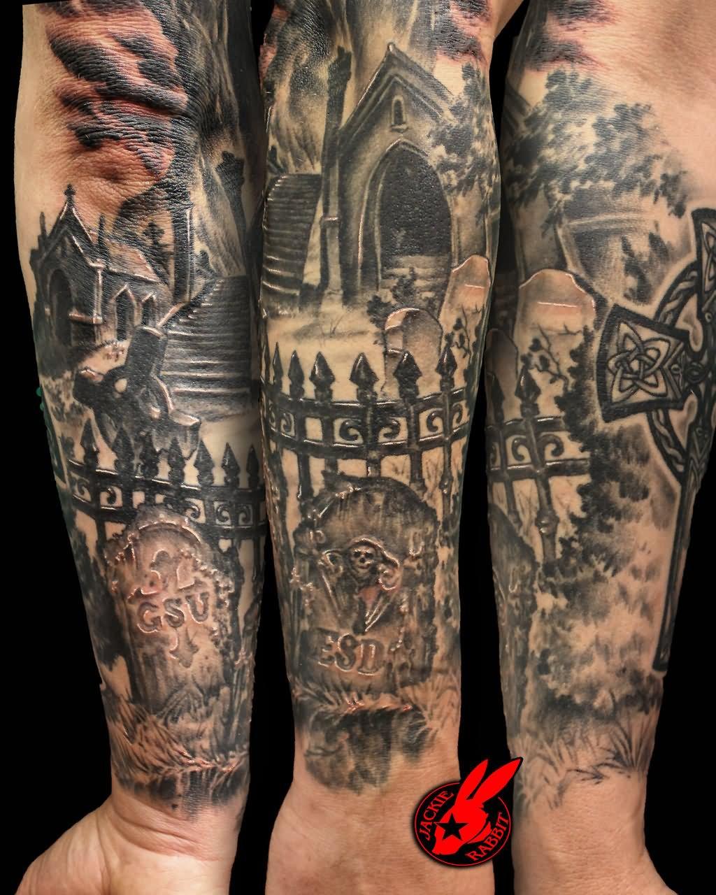 Cemetery and graveyard tattoo on half sleeve - Haunted Graveyard Tattoo On Sleeve By Jackie Rabbit