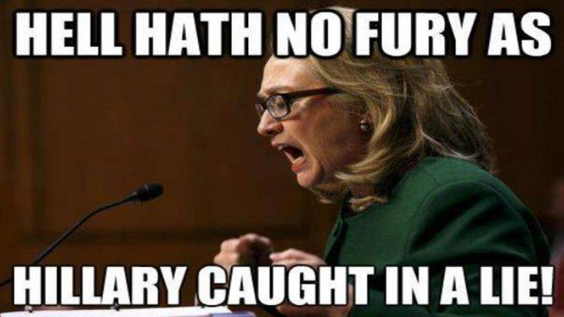 Hell Hath No Fury As Hillary Caught In A Life Funny Hillary Clinton Meme Image