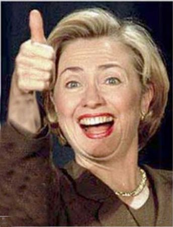 Hillary Clinton Showing Thumbs Up Funny Photo