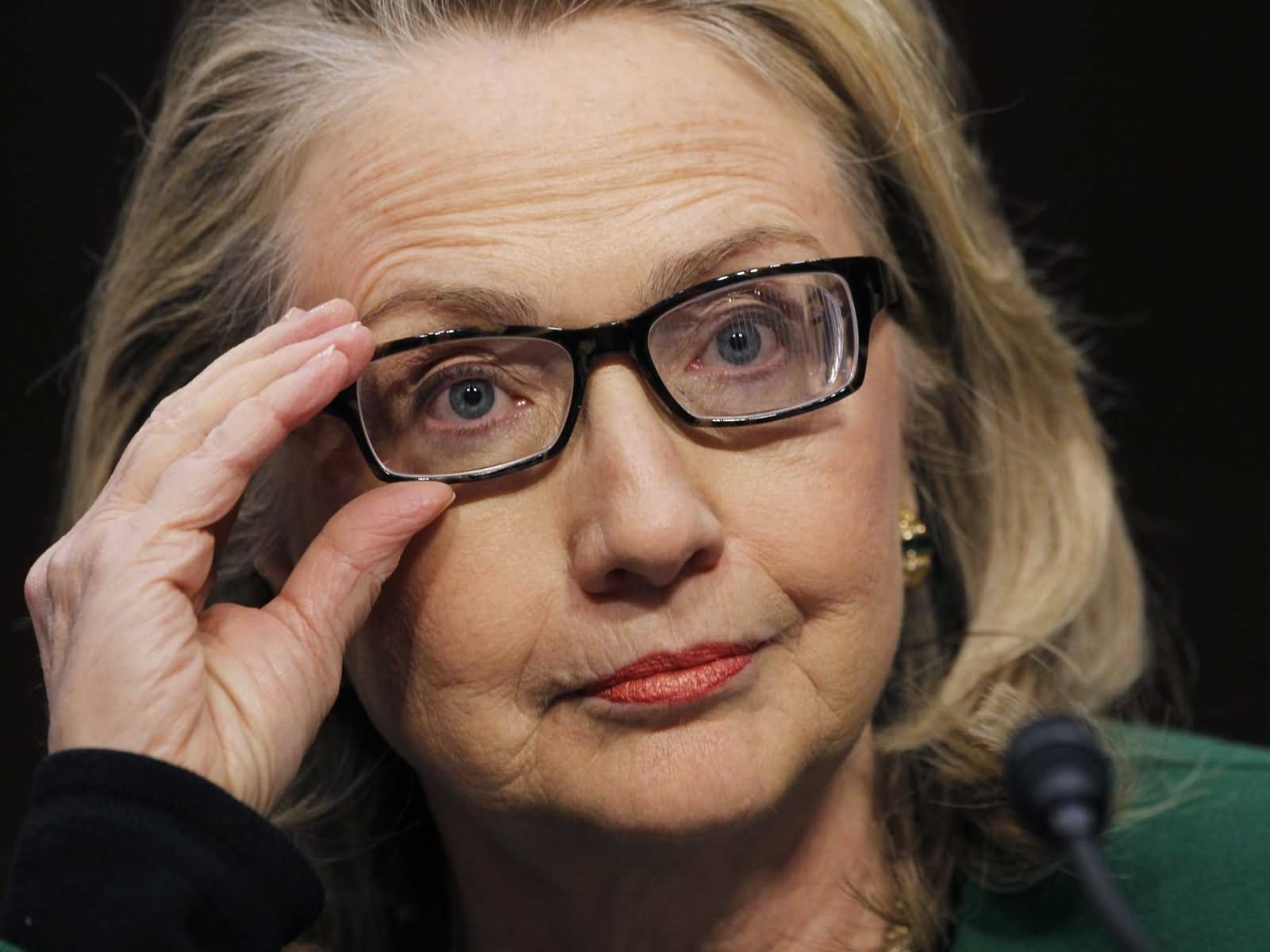 Hillary Clinton With Eyes Glass Funny Meme Image