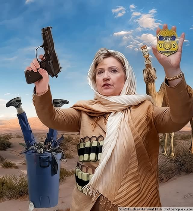 Hillary Clinton With Gun Very Funny Photoshopped Picture For Whatsapp