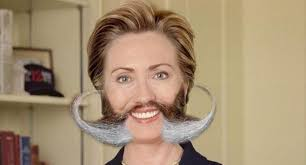 Hillary Clinton With Long Mustaches Funny Photoshop Picture